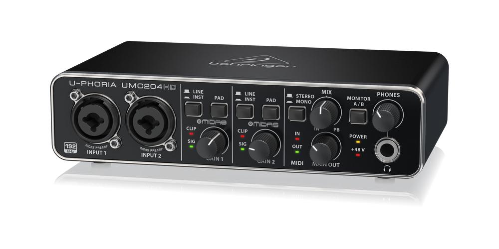 UMC204HD behringer tarjeta sonido front