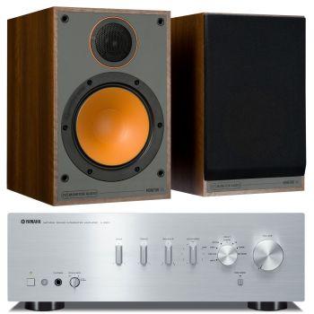 Yamaha AS301 Silver+Monitor Audio Monitor 100 Walnut Conjunto Audio