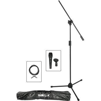 Quik Lok A-302PACK-2 Soporte para Microfono, Pinza y Cable de Microfono con Funda