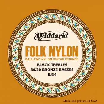 D´addario EJ34 Folk Nylon cuerdas para guitarra clasica