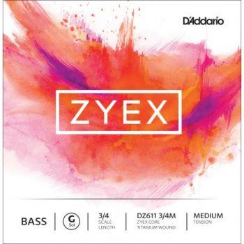 D´addario DZ611 Cuerda Suelta Contrabajo Zyex Sol (G) 3/4 Tensión Media