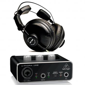 Behringer Interface Audio UM2 U-Phoria + Auriculares Estudio Pro Superlux HD669