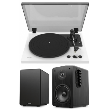 Equipo HiFi TEAC TN-175 White Giradiscos Con Previo Phono + Audibax Beta 1BT Altavoces Activos Bluetooth