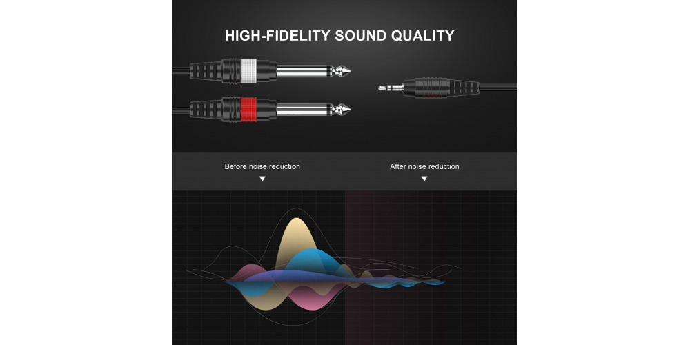 conexion mini jack stereo a 2 jack mono 1.5 m cable audibax mh