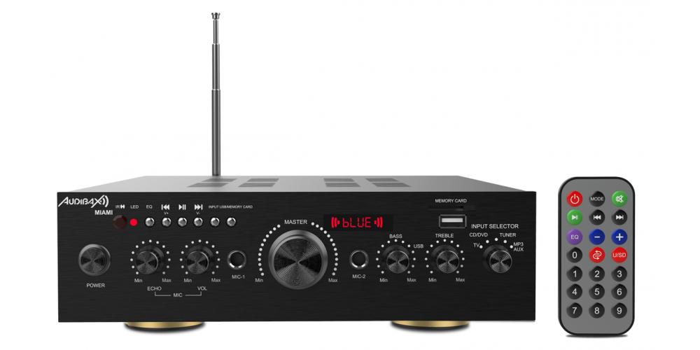 audibax miami amplificador 100w bluetooth negro mando