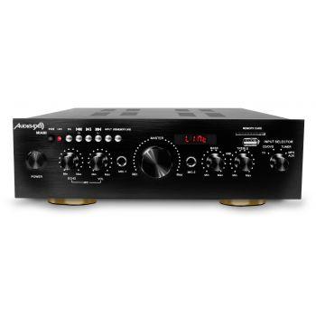 Audibax Miami Amplificador Karaoke Bluetooth 100W + 100W Músicales. Entrada 2 Micrófonos con volumen de mezcla y Echo. Radio FM .Entradas SD / USB . Mando a distancia