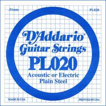 D´addario PL020 Cuerda Suelta para Guitarra Eléctrica y Acústica