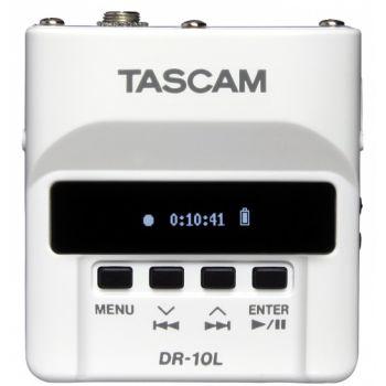 Tascam DR-10LW Grabador de audio digital con micrófono lavalier en blanco