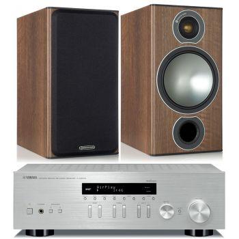 Yamaha RN-303D Silver+Monitor Audio Bronze 2 Walnut Conjunto Sonido