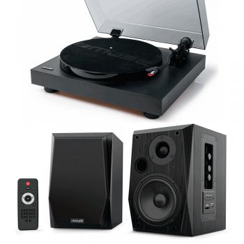 Equipo HiFi Muse MT-105B Giradiscos + Altavoces Audibax Beta 2BT Activos Bluetooth