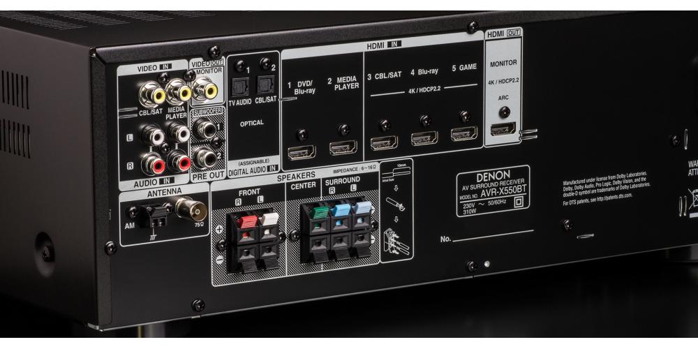 denon AVR X550BT conexiones