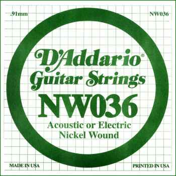 D´addario NW036 Cuerda Suelta para Guitarra Eléctrica