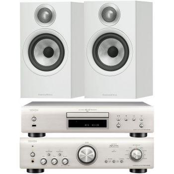 Denon PMA800 AE Silver+DCD800 Silver+B&W 606 White Conjunto Sonido