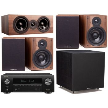 DENON equipo AV AVR-X1600H + Cambridge SX50 Walnut Cinema Pack 5.1 Altavoces Home Cinema