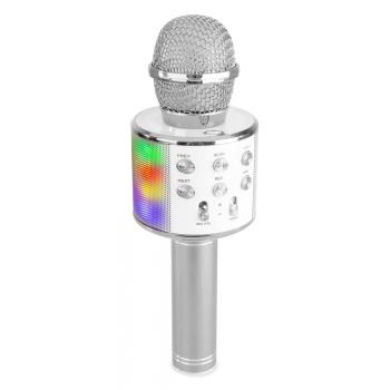 max KM15S Micrófono de Karaoke con Altavoz, bt y mp3 incorporado e Iluminación led, Plata 130148