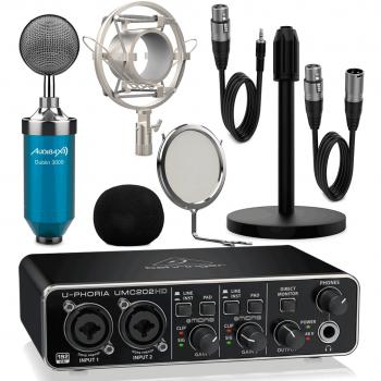 Interface Audio Behringer UMC202 HD + Micrófono Estudio Blue Pack Dublín 3000 con Accesorios