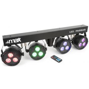 max 150485 LED PAR BAR con 4 focos 3x 4-en-1 RGBW