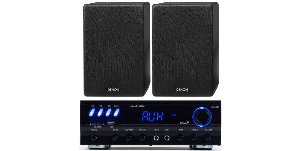 amplificador bluetooth audibax zero500 altavoces denon scn10 black