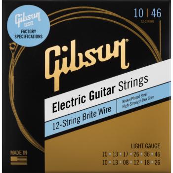 Gibson Brite Wire Electric Guitar Strings 12-String Light Cuerdas guitarra Eléctrica de 12 cuerdas