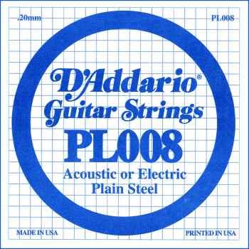 D´addario PL008 Cuerda Suelta para Guitarra Eléctrica y Acústica