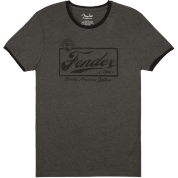 Fender Beer Label Mens Ringer Tee Gray Black XXL