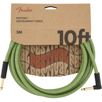 Fender Cable Angled Festival Instrument Pure Hemp 3 metros Green