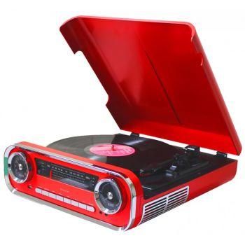 Lauson 01TT17 Tocadiscos Vintage Rojo Bluetooth Encoding FM USB