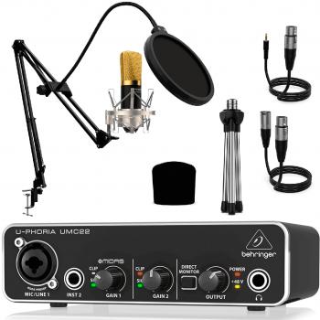 Behringer UMC22 Interface con Micrófono Berlin 1800 Gold Pro Pack. Micrófono + Soportes + Antipop + Cables