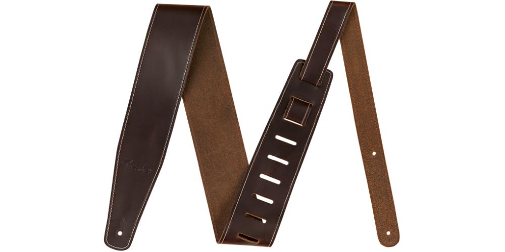 fender broken in leather strap brown 2 5