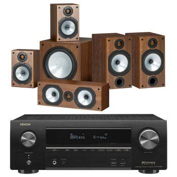 DENON Equipo AV AVR-X1500H + MONITOR AUDIO MR2 + MR1 + MR Centre +MRW10,POWER 2 Walnut Altavoces Home Cinema