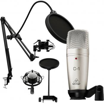 Behringer C1 Micrófono de Studio + Pack Podcast Estudio. Soporte Micrófono + Araña + Anti-Pop