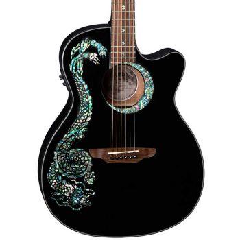 Luna Guitars Fauna Dragon Classic Black. Guitarra Electroacústica