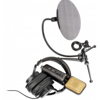 Eikon EKSBTWO Micrófono Estudio Usb + Auricular + Soporte Sobremesa + Anitpop