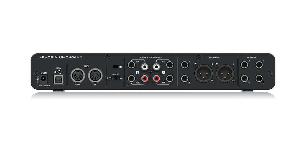 UMC404HD behringer tarjeta sonido conexiones