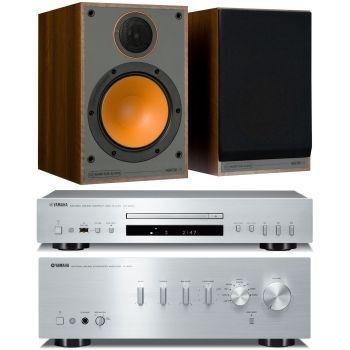Yamaha AS301 Silver+CDS300 Silver+Monitor Audio Monitor 100 walnut Conjunto Audio