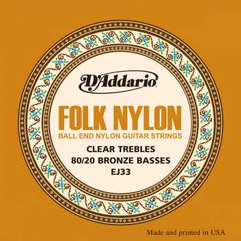 D´addario EJ33 Folk Nylon cuerdas para guitarra Clasica