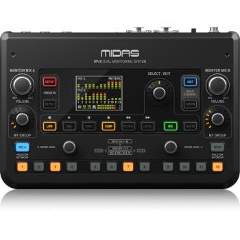 Midas DP48 Mezclador de monitor personal dual de 48 canales con grabadora tarjeta SD