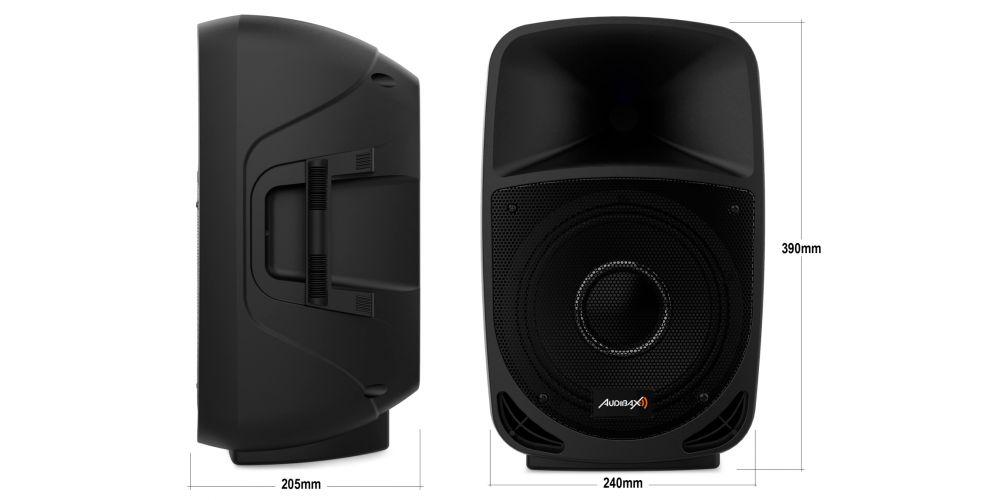 audibax vegas8 altavoz amplificado 8pulgadas medidas
