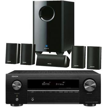 DENON Equipo AV AVR-X250BT+Onkyo SKS-HT528 Altavoces Home Cinema