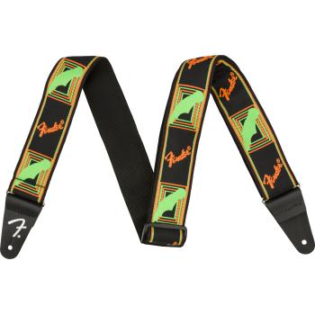 Fender Neon Monogrammed Green-Orange. Correa para Guitarra