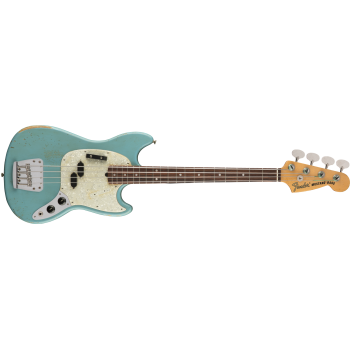 Fender JMJ Road Worn Mustang Bass Rosewood Fingerboard Faded Daphne Blue