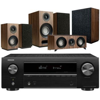 DENON AVR-X550 BK+Jamo S803HCS+S808SUB Walnut Conjunto Home Cinema