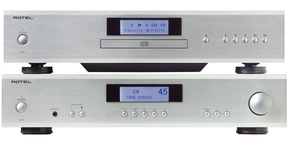 rotel a 11silver amplificado cd11 siver compact disc