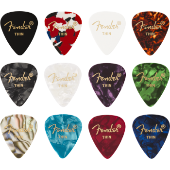 Fender 351 Shape Celluloid Medley Thin Pack 12