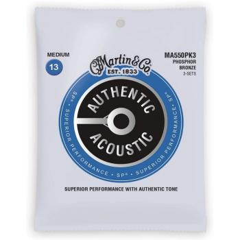 Martin MA550PK3 Cuerdas Guitarra Acústica Pack 3 Unidades Authentic Sp Phosphor Bronze 92/8 Medium 13-5
