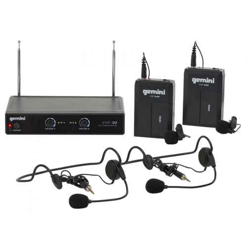 GEMINI VHF-02HL S2/6 Microfono Inalambrico Doble Diadema / Solapa