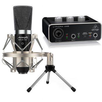 Audibax Berlin 1800 Micrófono Estudio + Accesorios + Interface Behringer UM2