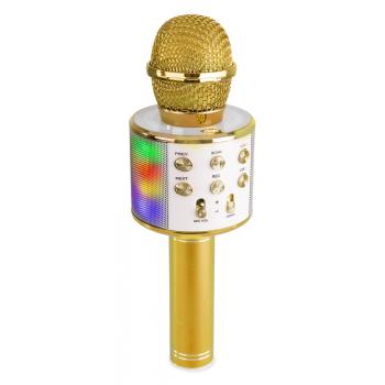 max KM15G Micrófono de Karaoke con Altavoz, bt y mp3 incorporado e Iluminación led, Dorado 130149