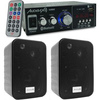 Equipo HiFi Bluetooth Kansas 40+40W + Altavoces Estantería Audibax PR-42B con soportes de Pared