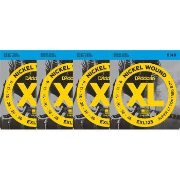 D Addario EXL125 Juego Cuerdas de Guitarra Eléctrica Pack 4 Unidades